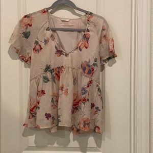 Lucky Brand Blush Floral Print Top-Size XS